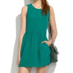 Madewell Green Waist Defined Silk Dress 0 xs s